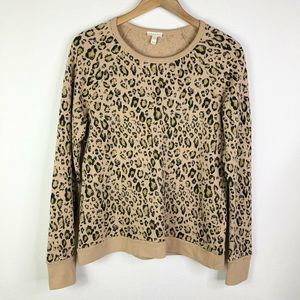 Soft Joie Leopard Sweatshirt Tan Size Medium